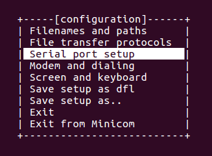 Configure minicom for a USB-to-Serial Converter
