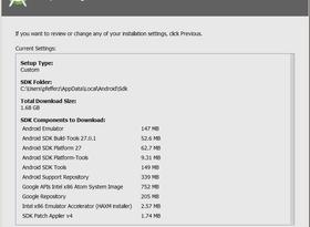Android Studio Setup Wizard Verify Settings Screen
