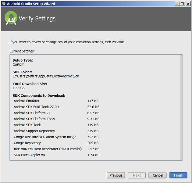 Android Studio Setup Wizard Verify Settings Screen | Home | Zach's Blog