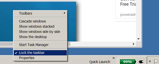 """Deselecting """"Lock the taskbar"""""""
