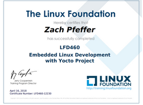 Completed LFD460: Embedded Linux Development with Yocto Project