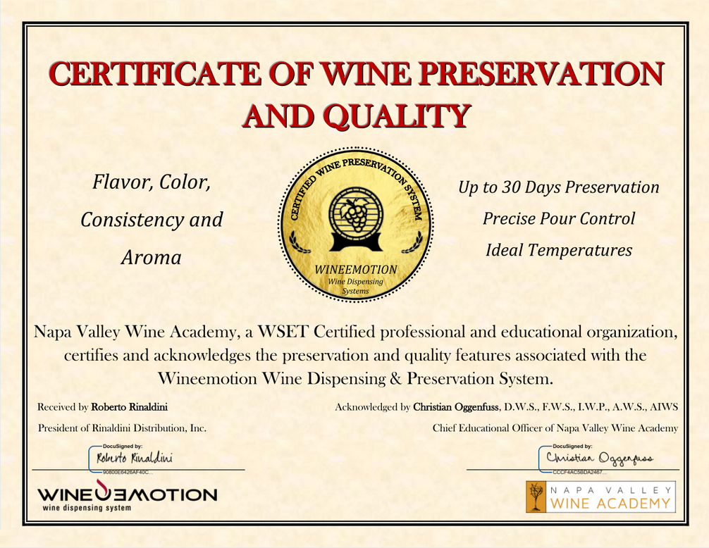 Signed Certificate of Preservation