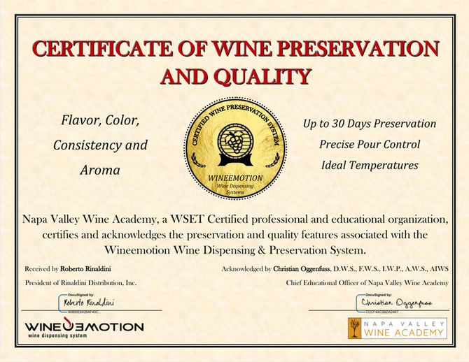 Certified to Preserve Your Wine: Wineemotion Wine Dispensing Systems