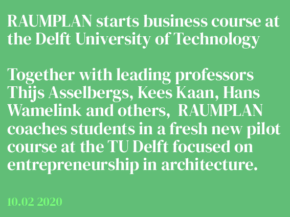 Raumplan joins new pilot business course at TUD
