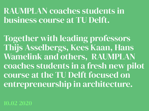 Raumplan joins new business course at TU Delft