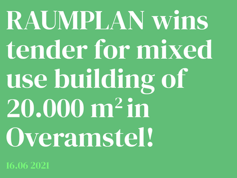 Raumplan wins tender for mixed use building in Amsterdam Overamstel!