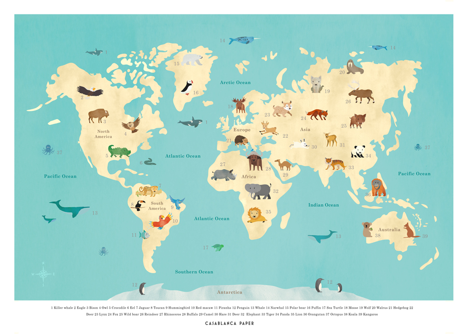 Worldmap with animals