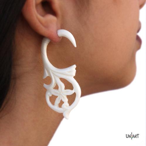 uniart accessories earring white bone flower lotus carving art handmade boho gypsy bohemian