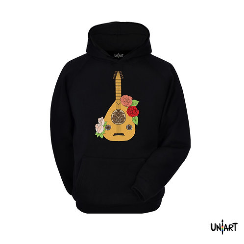 black oud flowers arabic music instrument women sweatshirt hoodie uniart fashion drawings hala jafar graphic gypsy musician