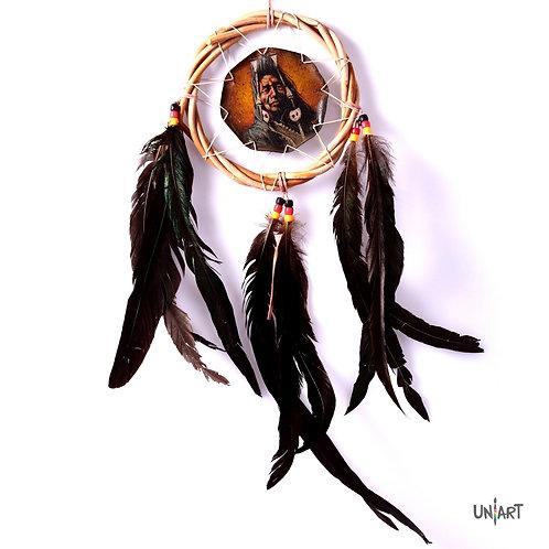 uniart bamboo handpainted dreamcatcher decoration natural boho bohemian feathers handmade native indians americans bones