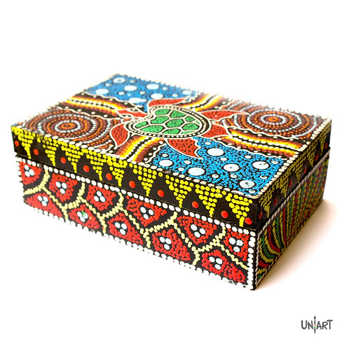 uniart colory stuff cool art box gift box turtle handpainted handmade wooden hand crafted aboriginal colorful  australian