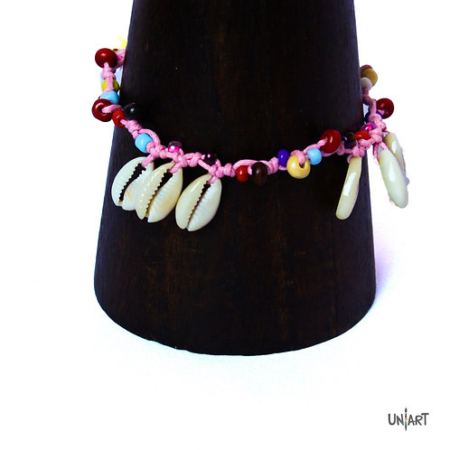uniart accessories seashells anklet bohemian style boho chic shells pink colorful handmade