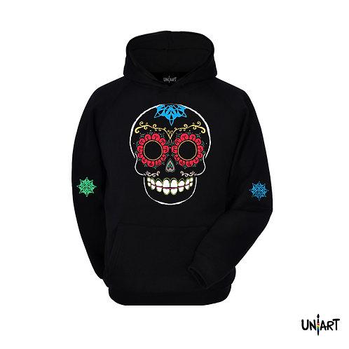 black sugar skull colorful sweatshirt hoodie uniart art fashion drawings hala jafar graphic mexican day of the dead