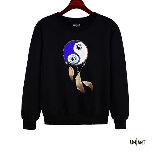 black sweatshirt raglan crewneck dreamcatcher yin yang uniart fashion drawings colorful hala jafar tee graphic