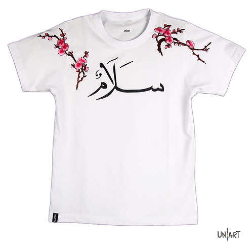 salam pink blossom white women tshirt tee peace uniart embroidery amman jordan souvenir pink flowers