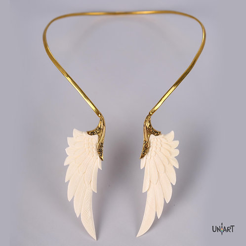 large white gold wings necklace bone art brass gold fashion accessories jewelry gift souvenir fantasy uniart