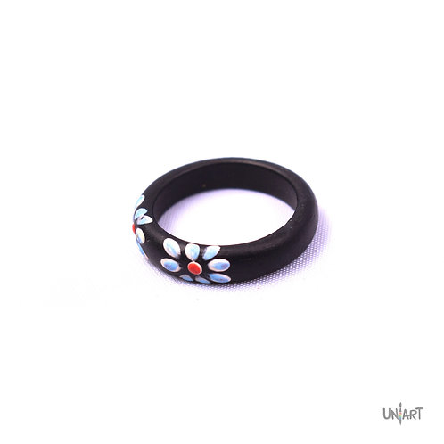 uniart floral handmade white handpainted drawing colorful daisy wood ring accessories gypsy style