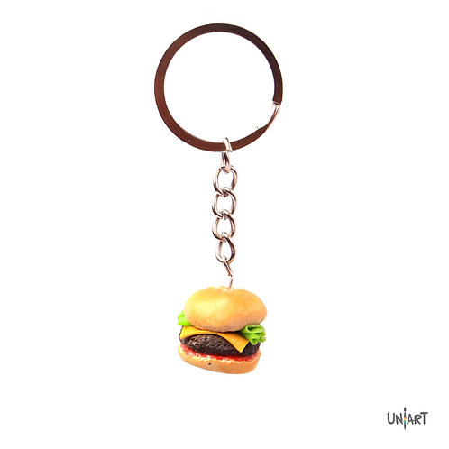 uniart key-chain accessories food favorite things favthings miniature handmade art clay polymer gift burger