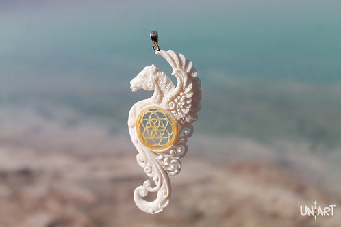 shell white wings horse pegasus seed of life pendant necklace unique uniart fantasy art bone hand carved handmade gift