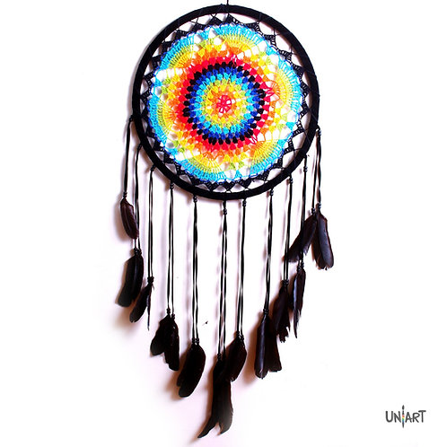 uniart dreamcatcher decoration rainbow colorful bohemian gypsy feathers handmade native indians americans bones crochet art