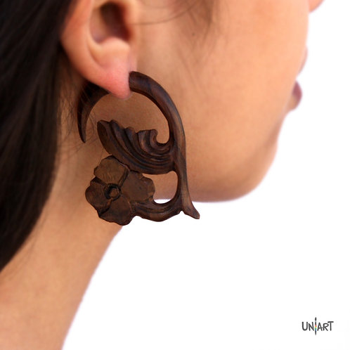 uniart accessories earring wood brown floral carving art handmade boho gypsy bohemian