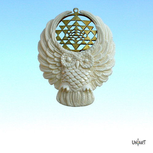 white owl pendant necklace yantra sacred geometry brass uniart fantasy angel art bone hand carved feathers handmade gift