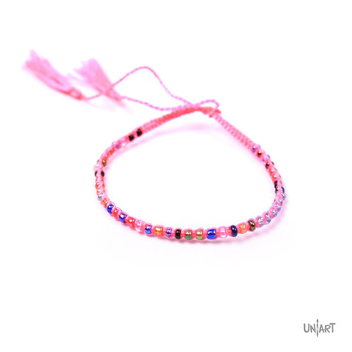 uniart accessories bracelet friendship thread colorful tassel handmade beads pink