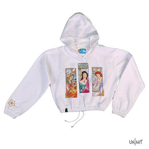 The three madonnas crop hoodie