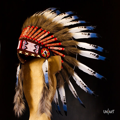 uniart natural accessories handmade coolstuff colorystuff native american Indian headpiece feathers costume colorful blue