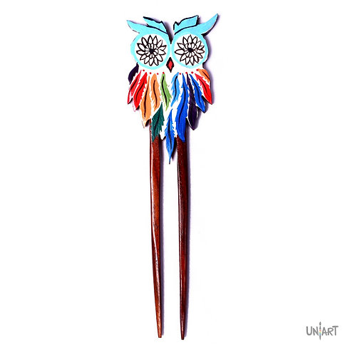 dreamcatcher owl colorful art hairstick hair piece wood women accessories uniart handdrawing handpainted handmade