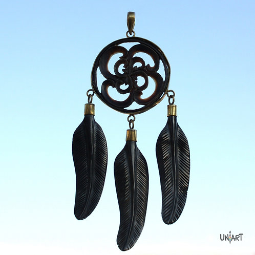 black brown natural horn dreamcatchers feathers pendant necklace geometry uniart fantasy art handcarved handmade