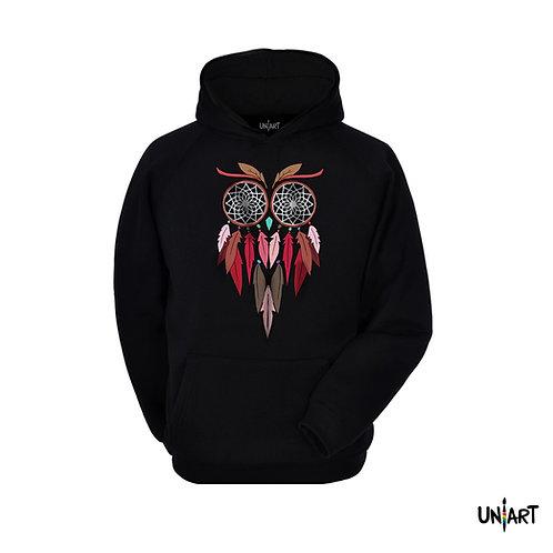 black owl colorful dreamcatcher sorrel sweatshirt crewneck uniart fashion drawings hala jafar graphic gypsy bohemian