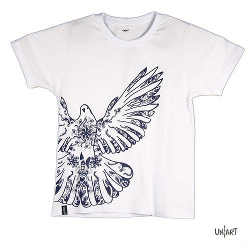 navy dove drawing tshirt blue and white floral pattern art amman jordan sky Pigeons