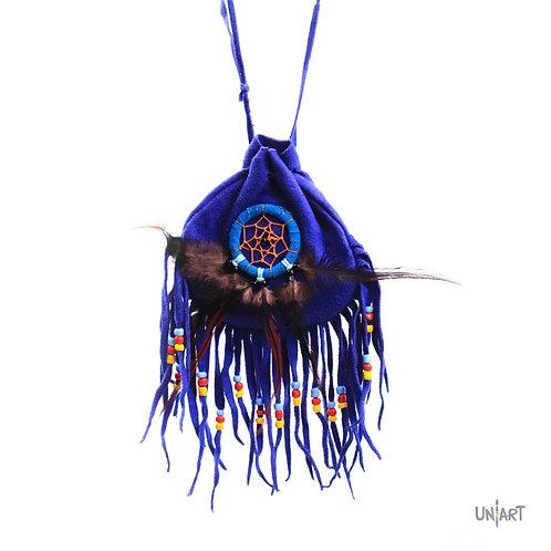 uniart accessories necklace pocket blue tassels fringe dreamcatcher feather blue gypsy boho bohemian adjustable