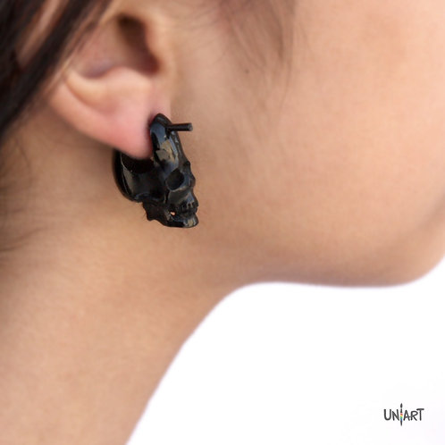 uniart accessories earring white horn buffalo black skull carving art handmade boho gypsy bohemian