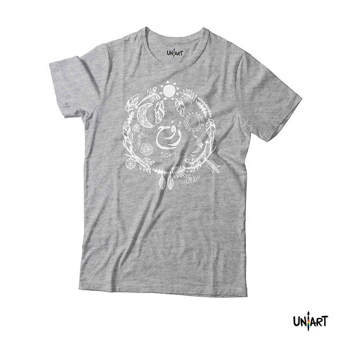 gray spirit rwh tshirt uniart fashion drawings doodle hala jafar tee graphic bohemian gypsy arabic calligraphy