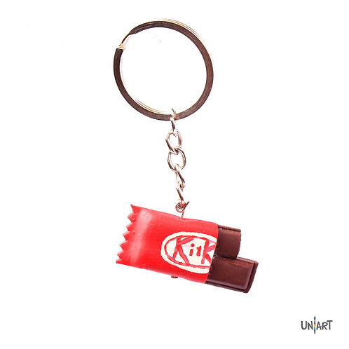 uniart key-chain accessories food favorite things miniature handmade art clay polymer gift kitkat chocolate chocoholic
