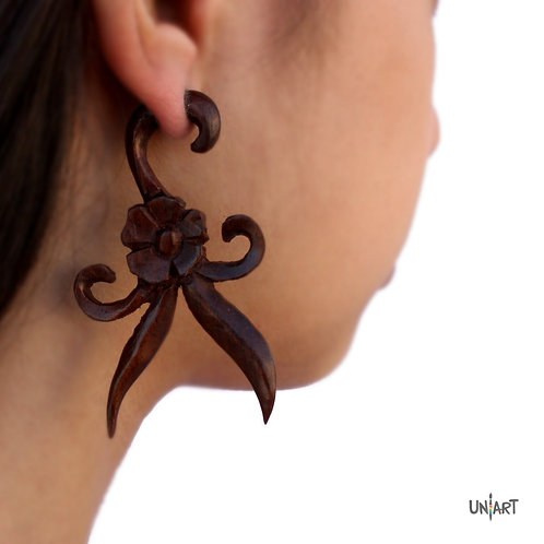 uniart accessories earring feathers floral flower salsa wood brown carving art woodart bohemian boho gypsy