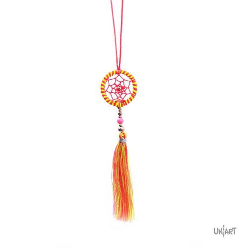 dreamcatcher small necklace uniart fashion 3cm pink yellow tassel adjustable women bohemian gypsy boho style