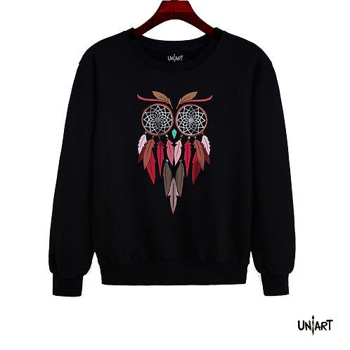 gray owl colorful dreamcatcher dreams sorrel sweatshirt crewneck uniart fashion drawings hala jafar graphic gypsy bohemian