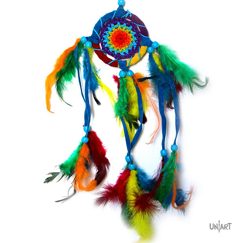 uniart 5cm car dreamcatcher decoration rainbow colorful boho bohemian gypsy feather handmade native indians americans crochet