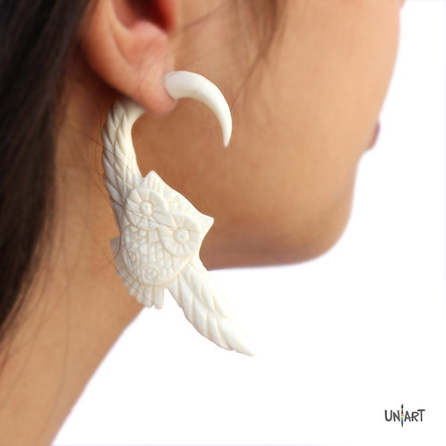 uniart accessories earring white owl snowy carving art handmade boho gypsy bohemian