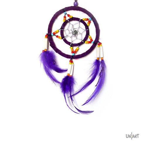 uniart 5cm car dreamcatcher decoration purple boho bohemian gypsy feather handmade native indians americans colorful beads