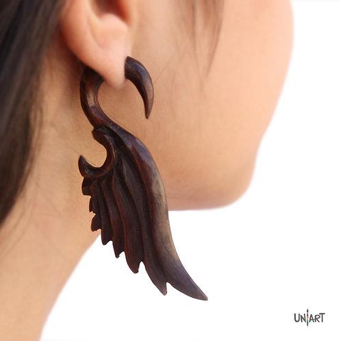 uniart accessories earring feathers wings wood brown carving art woodart bohemian boho gypsy
