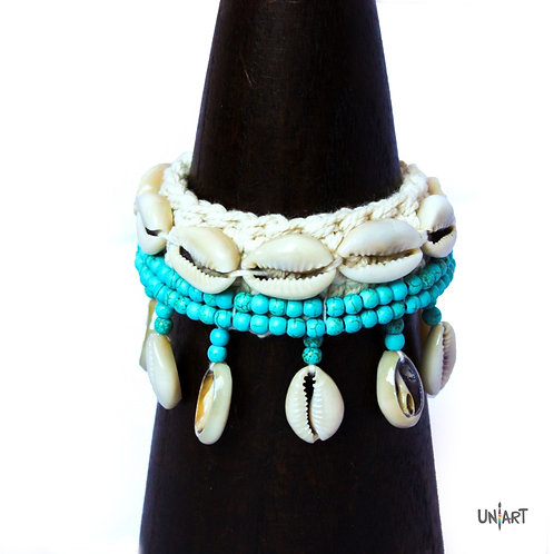 uniart accessories blue anklet bohemian style boho chic shells crochet art handmade
