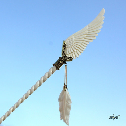 Pegasus white wing hairstick brass hairpiece  uniart fantasy angel art bone carving feathers handmade gift