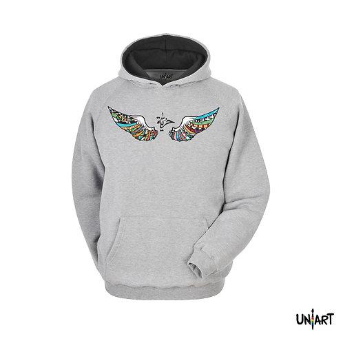 gray freedom wing hurriyiah حرية angel arabic calligraphy colorful sweatshirt hoodie uniart art fashion drawings hala jafar