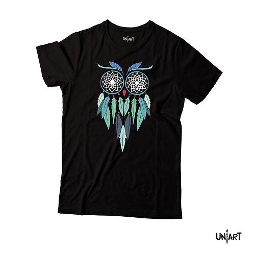 Blue Dreamcatcher Spirited Owl T-shirt