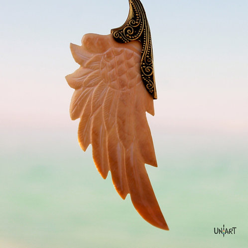 pink wing pendant necklace accessories women unique uniart fantasy angel art shell hand carved feathers handmade gift