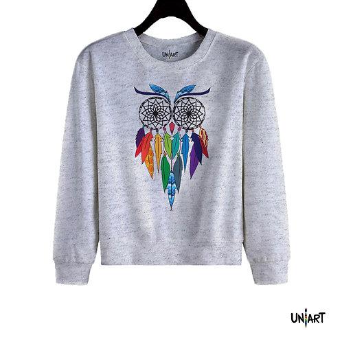 gray owl colorful dreamcatcher dreams sweatshirt crewneck uniart fashion drawings hala jafar graphic gypsy bohemian